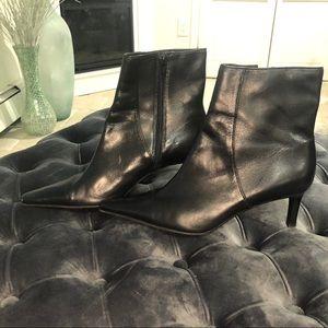 Lauren Ralph Loren Black Leather Booties with Heel
